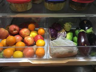 Apples, oranges, ginger, lemons, limes, eggplant, purple cabbage, pickling cukes, carrots, kohlrabi in refrigerator crisper drawers. https://trimazing.com/