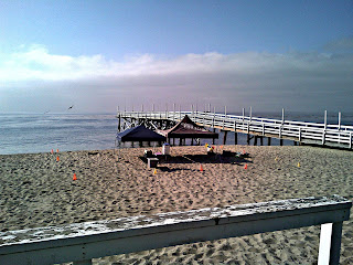 Aloha Beach Camp's canopies on the Paradise Cove Beach sand right next to the Paraise Cove Pier