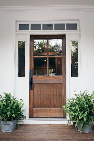 stained wood front door, front door, front entrance
