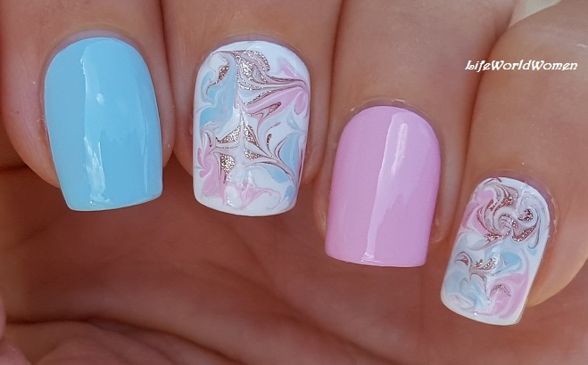 Baby Blue & Baby Pink Marble Nail Design For Summer - Life World Women: Baby Blue & Baby Pink Marble Nail Design For Summer
