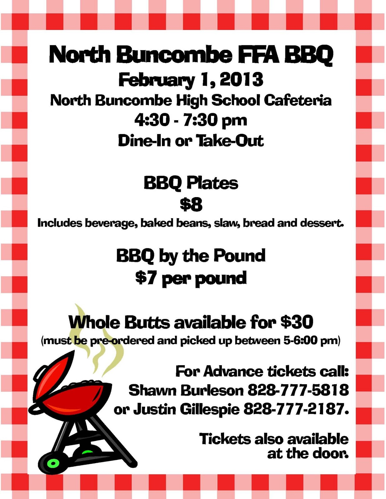 Ask wnc north buncombe ffa chapter announces scholarship for Bbq tickets template