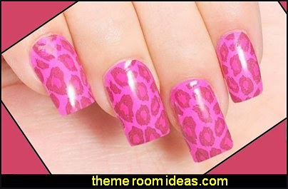 Water Transfer Nail Decals wild animal themed animal print nail designs - animal themed nail art - wild animal nail art - animal print nail decals - tiger nail stickers - leopard nail stickers -   Jungle Animals Nail Art Sticker Decals