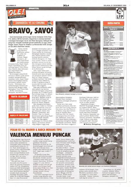 REAL ZARAGOZA VS DEPORTIVO LA CORUNA BRAVO, SAVO MILOSEVIC