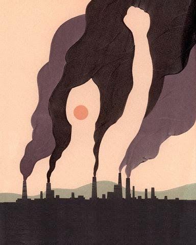 Ilustración minimalista con fábricas