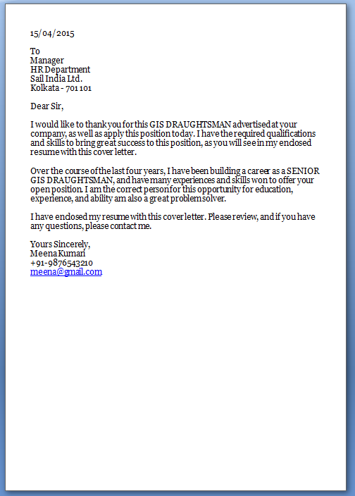 Sample Cover Letter For Job Application Fresher - Cover ...