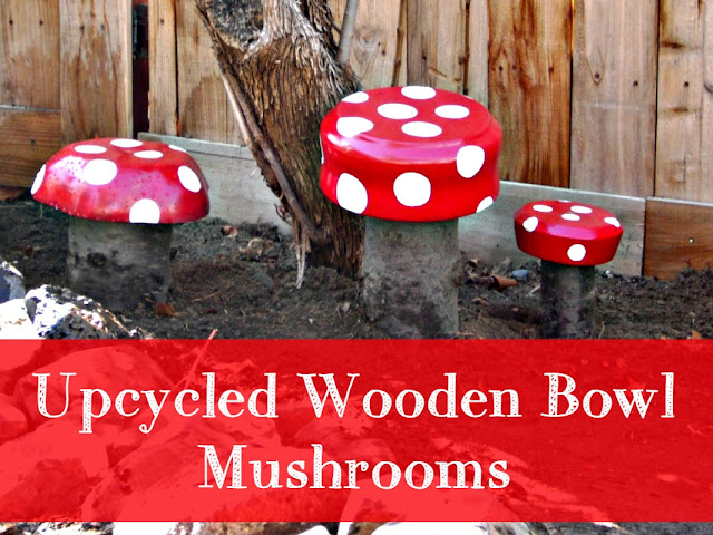 How to make garden mushrooms from wood bowls and tree stumps