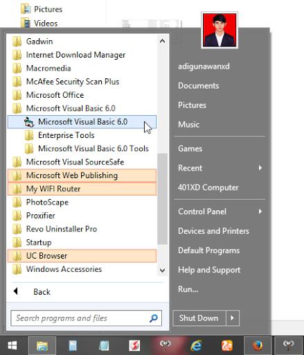 cara instal vb 6.0 windows 8