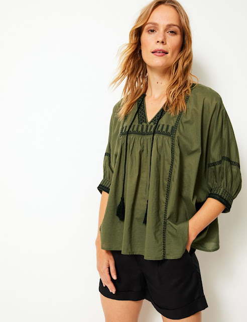 marks and spencer pure cotton embroidered ¾ sleeve blouse