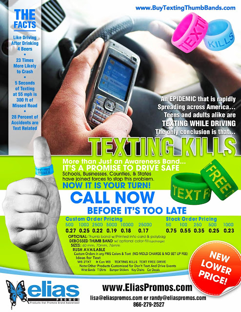 It Can Wait Don't Text and Drive Thumb Bands in Stock or Custom Colors September is It Can Wait National Awareness