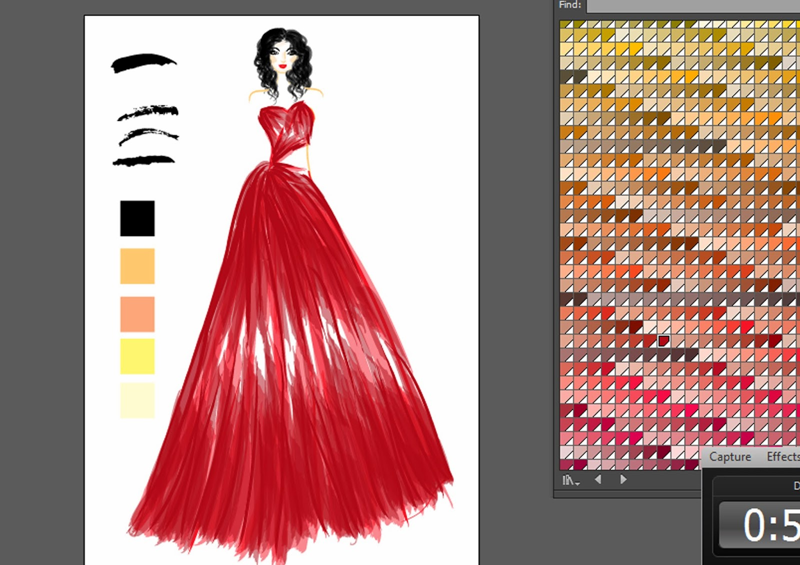 Emovia Catalina: Drawing Red Tulle Gown in Adobe Illustrator