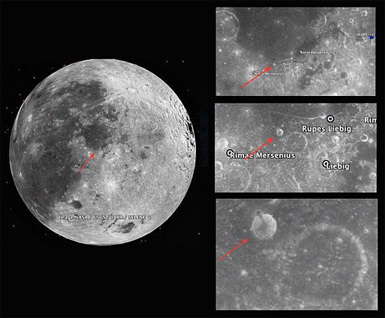 Localização da suposta construção alienígena na Lua