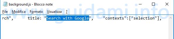 Blocco note Windows modificare stringa Search with Google