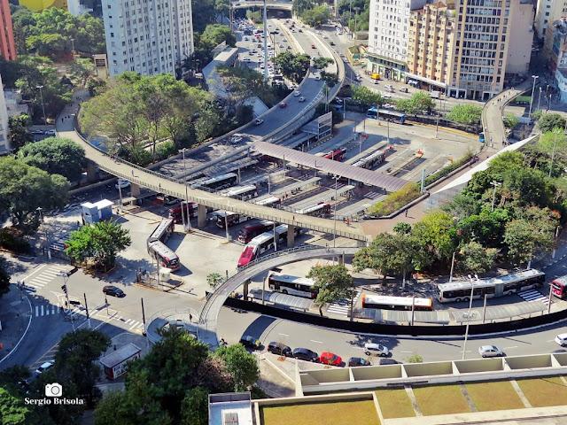 Vista superior ampla do Terminal Bandeira - Centro - São Paulo