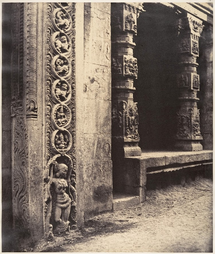 Base of Temple and Sculptured Pillars - Madura, 1858