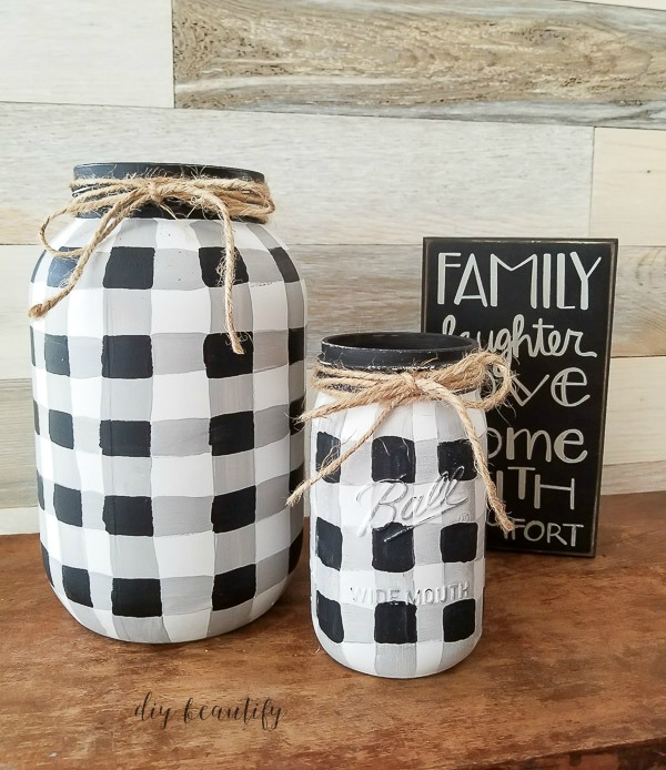 buffalo plaid mason jars