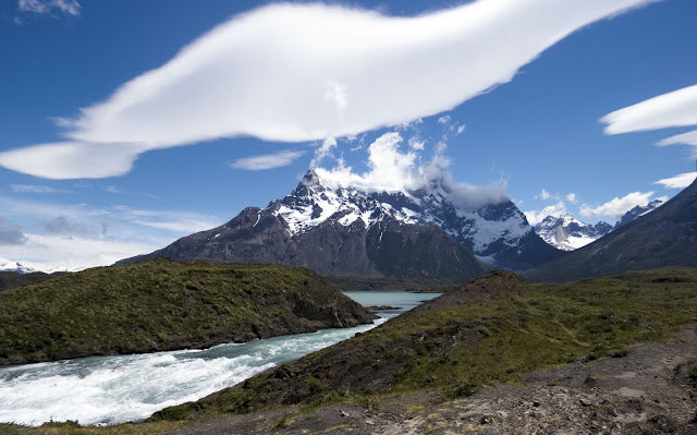 Salto Grande Waterfall with mountains beyond in Torres del Paine National Park on a day trip from Puerto Natales