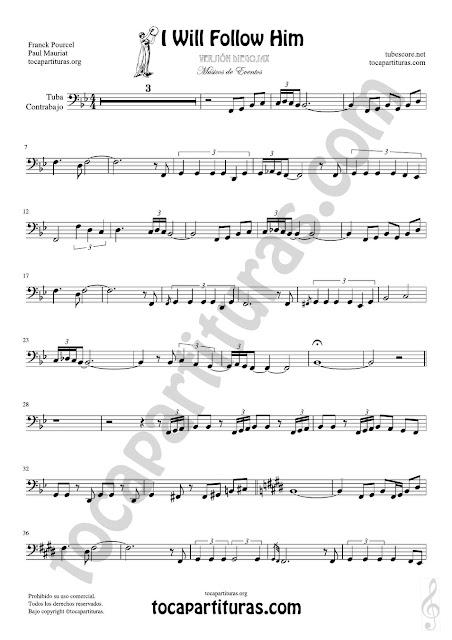Hoja 1 de 2  Partitura de Yo le seguiré (I will follow him) Tuba y Contrabajo (Clave de Fa en 8ª Baja) Sheet Music for Contrabass y Tuba Music Score