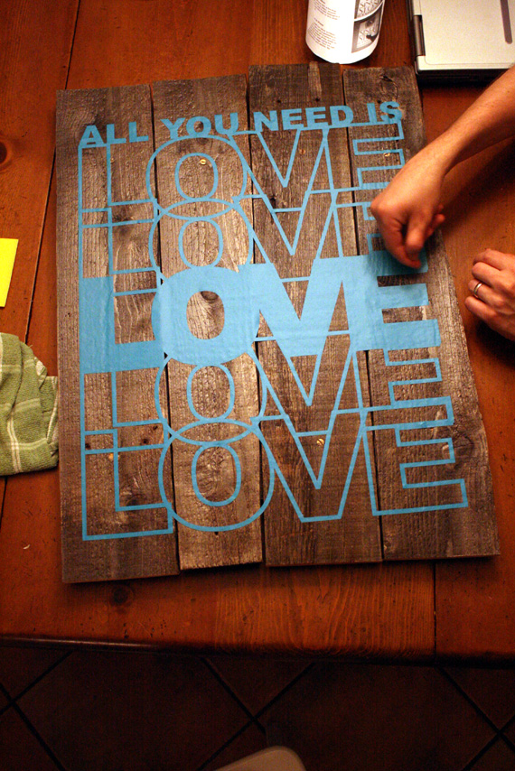Remodelaholic Rustic Vinyl Wall Decal Art Tutorial - How to make vinyl wall decals stick