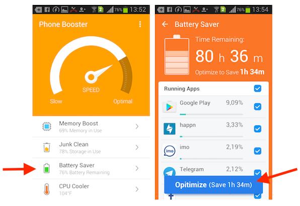 Otimizando o uso da bateria pelos aplicativo instalados no Android com o Super Booster Clean Boost