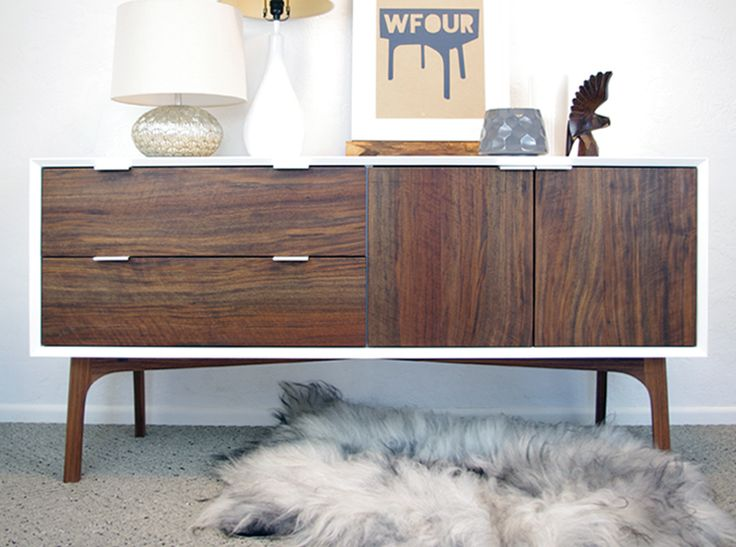 Wfour Cabinet Walnut And White Lacquer