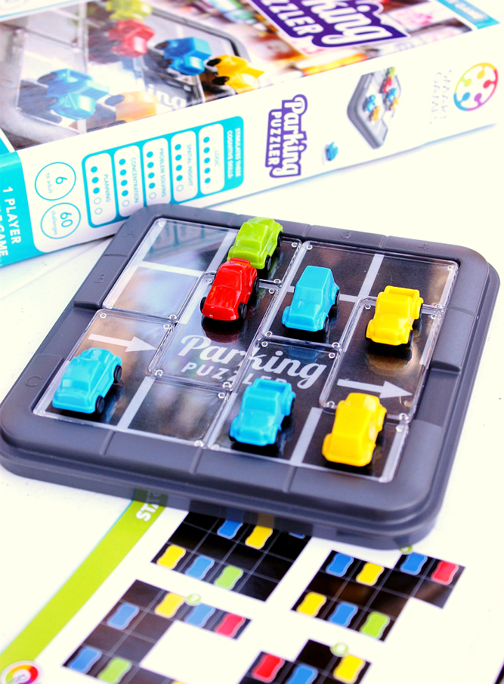 Parking Puzzler- Smart Games offers dozens of hands on, 3-dimensional, problem solving puzzle games for kids of all ages. The perfect single or group activities for STEM children! #sponsored