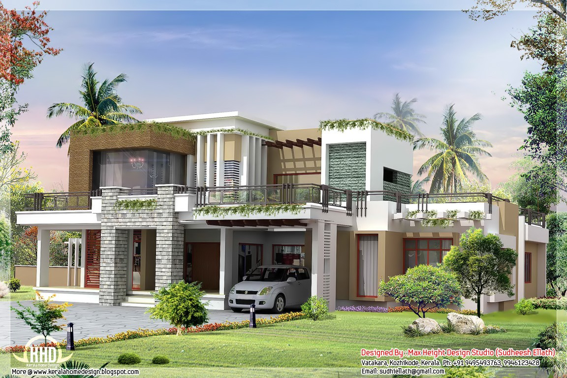 2800 modern contemporary home design kerala home for Small contemporary house plans in kerala