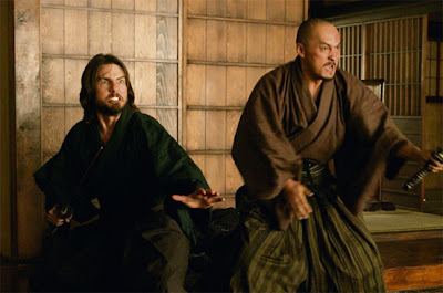 Tom Cruise as Nathan Algren, Ken Watanabe as Samurai leader Katsumoto, fighting against emperor's ninjas, The Last Samuraii, directed by Edward Zwick