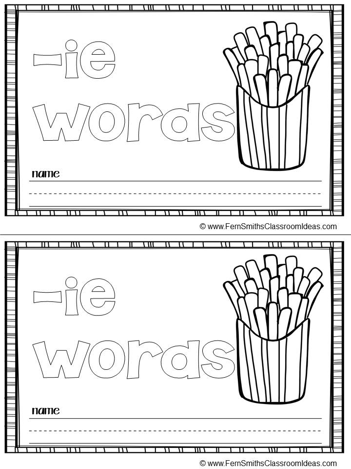 Fern's Freebie Friday ~ FREE Sampler Printable Phonics Mini-Books for the -ie Family