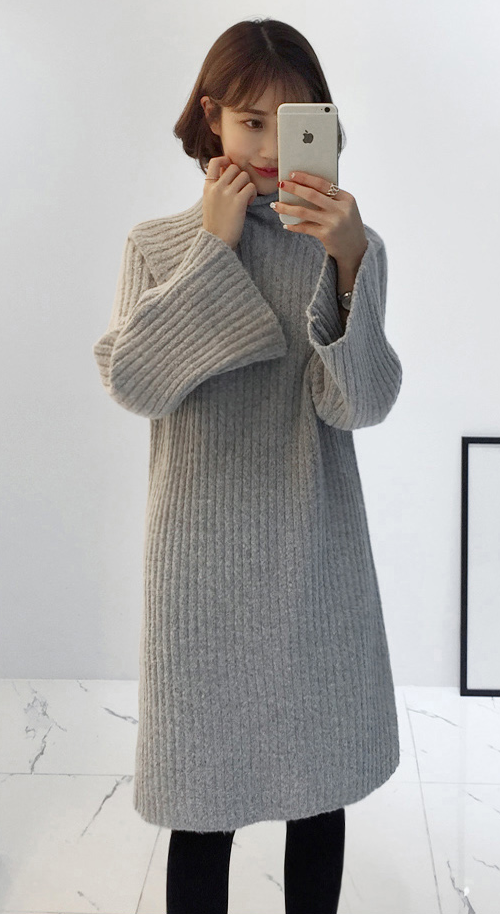 High Neck Ribbed Knit Midi Dress