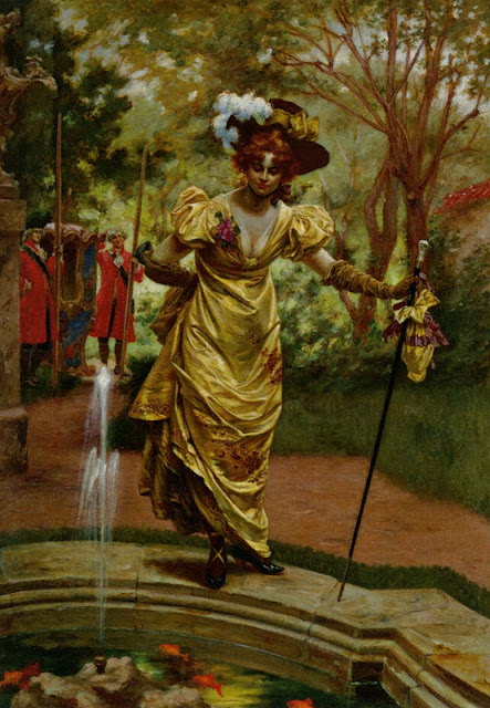 Karl Gampenrieder - An Elegant Lady by a Goldfish Pond