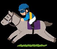 馬に乗るジョッキーのイラスト(青)