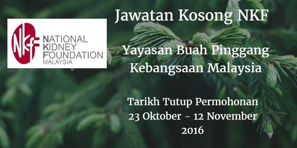 Jawatan Kosong NKF 23 Oktober - 12 November 2016