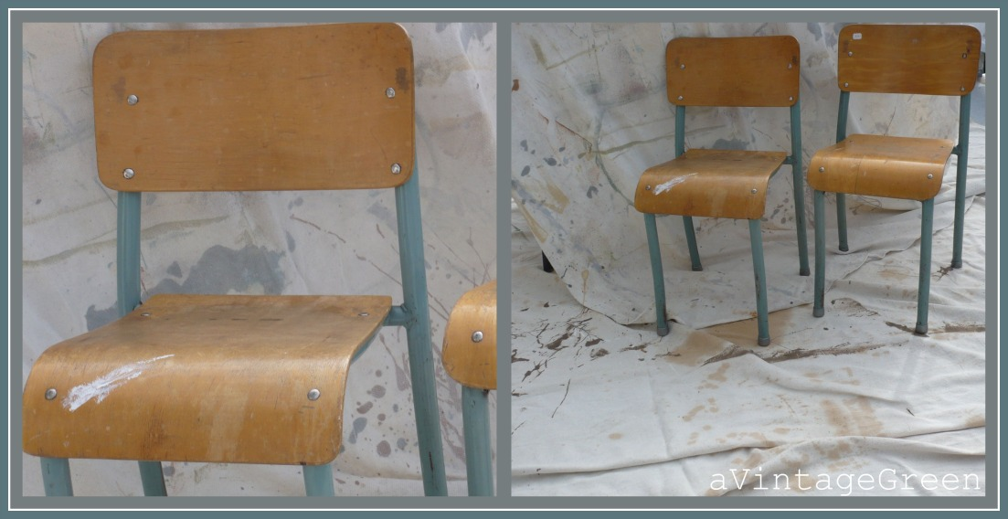 Vintage Wood And Metal Primary School Chairs