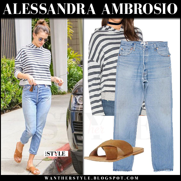 Alessandra Ambrosio in striped hoodie, jeans and brown sandals ariat what she wore may 30 2017