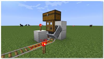 Minecraft 高速トロッコ輸送 アイテム積み込み駅 積み込み中
