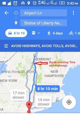 How to check if there is a toll in my route on Google maps?