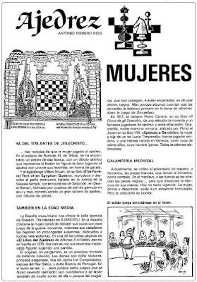 Artículo  de Antonio Romero Ríos en la revista Ejército sobre las mujeres ajedrecistas, julio1986 (1)