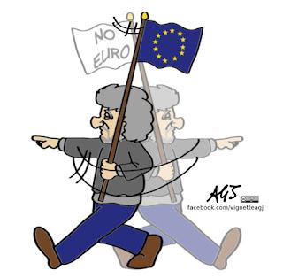 Grillo, m5s, alde, europa, euro, vignetta, satira