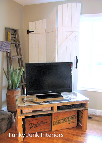 pallet TV media stand Funky Junk Interiors