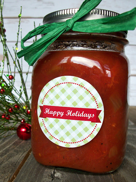 Happy Holidays Christmas canning label