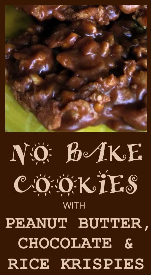 no bake chocolate cookies w/ rice krispies & peanut butter