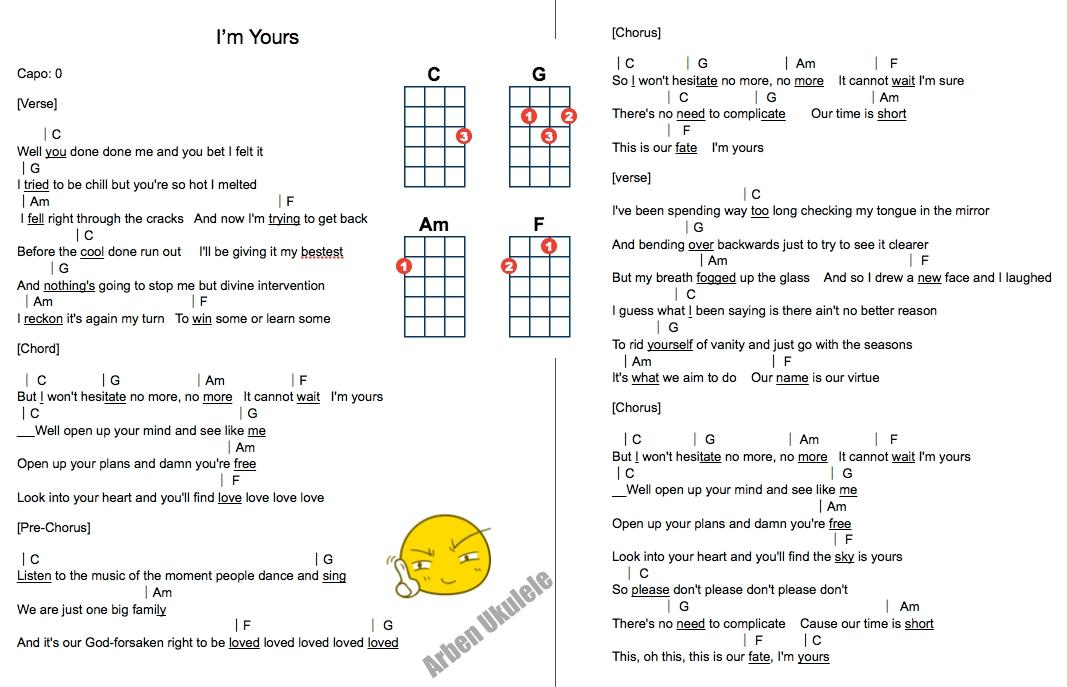 Jason mraz - I\'m yours (ukulele chord song)