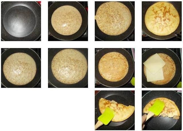 Falso pão de queijo de frigideira com farelo de trigo integral recheado com queijo