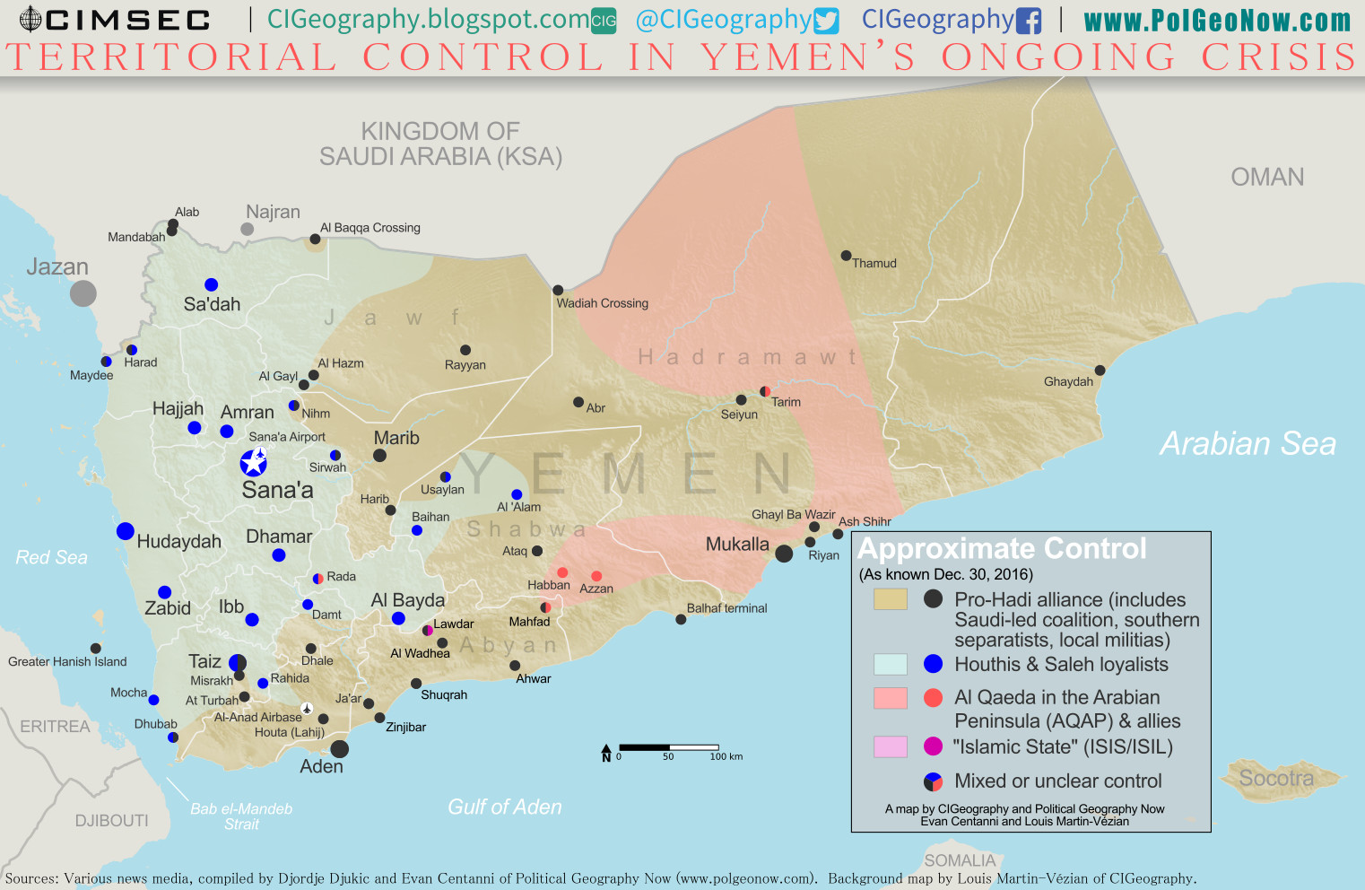 Map of what is happening in Yemen as of December 30, 2016, including territorial control for the Houthi rebels and former president Saleh's forces, president-in-exile Hadi and his allies in the Saudi-led coalition and Southern Movement, Al Qaeda in the Arabian Peninsula (AQAP), and the so-called Islamic State (ISIS/ISIL). Includes recent locations of fighting, including Al Gail, Sirwah, Usaylan, and areas long the Yemen border with Saudi Arabia. Colorblind accessible.