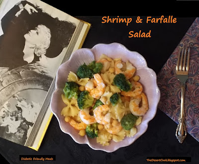 shrimp, whole wheat farfalle, broccoli and garbanzo beans photo by candy dorsey