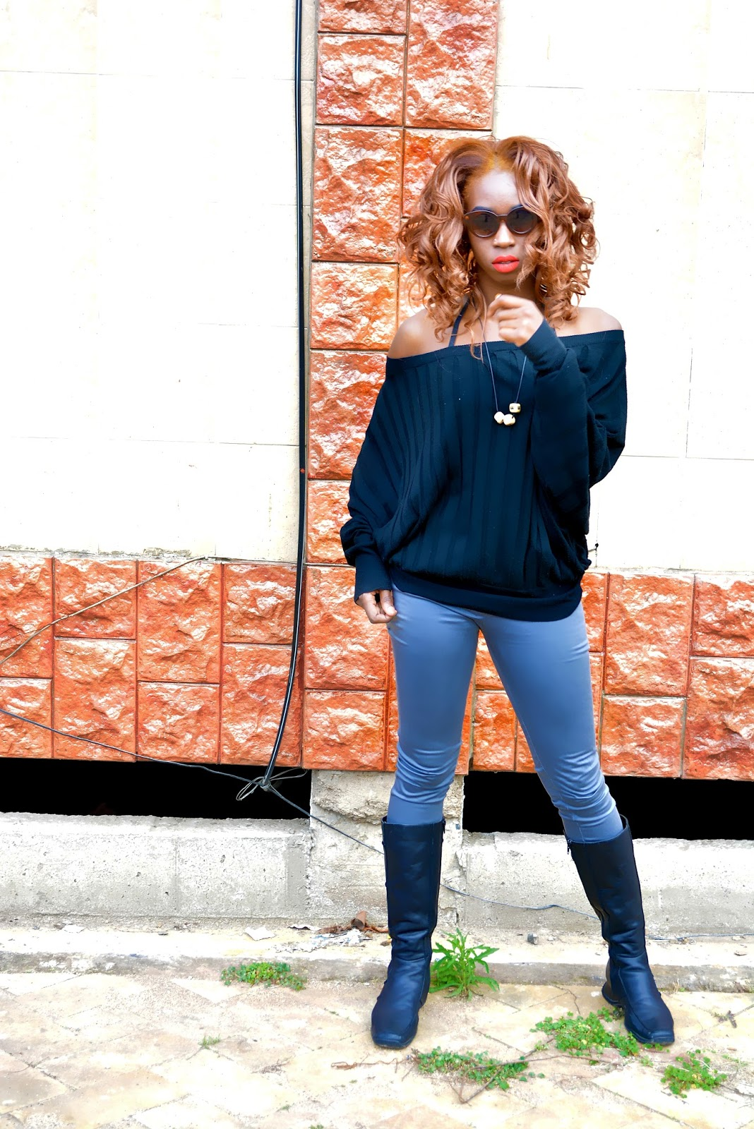 off shoulder tops, pants, boots, winter outfit, rainny weather outfits, what to wear during winter, what to wear during the rainy season. style with Ezil, Ezil, Kfrican fashion blogger, Kenyan fashion blogger.