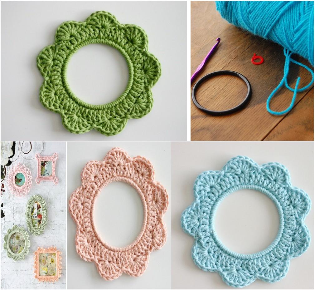Como hacer marcos de fotos de crochet con aros patrones - Como hacer cuadros caseros ...