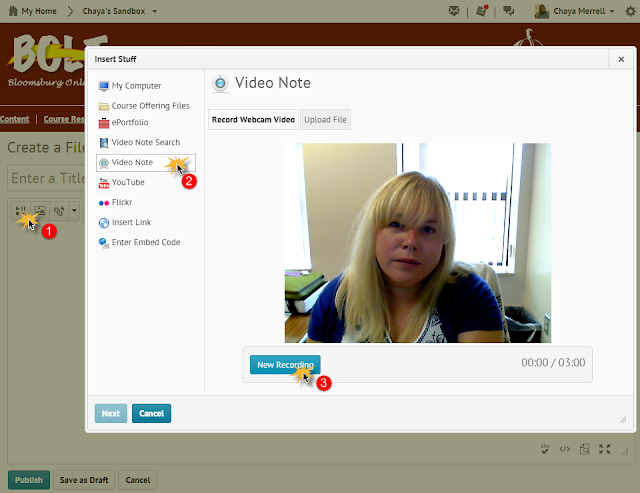 screenshot of the Video Note interface in BOLT recording a new video note