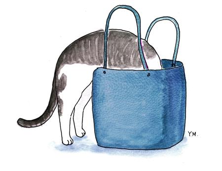 Cat in a bag by Yukié Matsushita