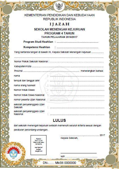 Download Contoh Format Blangko Ijazah Dan Shun Terbaru Tahun 2017 Administrasi Pendidikan